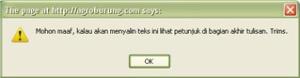 Peringatan tidak bisa di copy